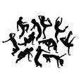 happy break dance expression silhouettes vector image vector image