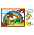 jigsaw puzzle game with kids riding bike vector image vector image