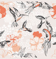 line art sketch parrots hummingbirds botanical vector image