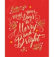 May your days be Merry and Bright holiday card vector image vector image