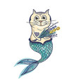 mermaid cat character vector image