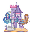 mermaids at castle vector image