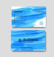 minimalist business card with blue brush vector image vector image