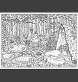 mystic forest landscape with table bed and throne vector image