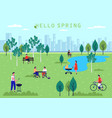 people activity at spring parkholiday and leisure vector image vector image