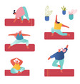 people practicing yoga set yogi women group doing vector image