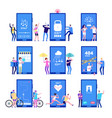 phone app concept men and women standing near big vector image