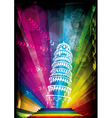 pisa tower and neon lights vector image vector image
