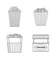 popcorn cinema box icons set outline style vector image