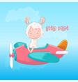 postcard poster cute llama on plane in cartoon vector image vector image