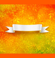 scroll banner on autumn background vector image vector image