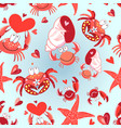 seamless bright pattern loving crabs vector image vector image