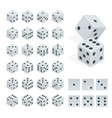 set isometric dice combination white poker vector image