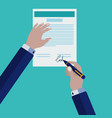 signing a contract vector image vector image