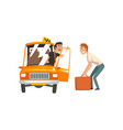 taxi service car driver talking with male vector image vector image