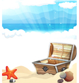 Treasure Chest on the sand vector image vector image