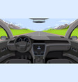 vehicle salon inside car driver view with rudder vector image vector image