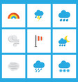 weather icons flat style set with shower blizzard vector image vector image