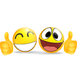 Emoticon with thumb business commerce concept vector image