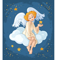 christmas angel sitting on a cloud vector image