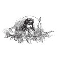 a young girl face with leaves vintage engraving vector image vector image
