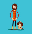 a young guy with a beard stands holding his hands vector image