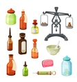 Apothecary set Vintage medicine bottles vector image vector image