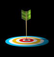 arrow dart hit centre of target vector image vector image