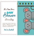 baby shower card mice twins design vector image vector image