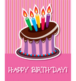 birthday chocolate cake with burning candle vector image vector image