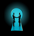 businessmen shaking hands seen through a keyhole vector image vector image