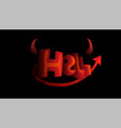 cartoon word hell with devil horns and tail in red vector image