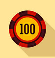 casino chip 100 icon flat style vector image vector image