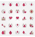 Charity blood donation icons vector image