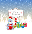 christmas rabbit with present boxes santa bag vector image