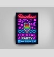cocktail party poster template rainbow vector image