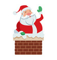 cute cartoon santa claus in chimney vector image