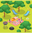 family picnic with bbq isometric view vector image vector image