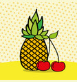 fresh pineapple and cherries on dotted background vector image