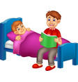 funny boy cartoon read a bedtime tale by father vector image