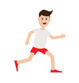 Funny cartoon running guy Cute run boy Jogging man vector image vector image