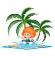 girl in tropical island splash water cartoon