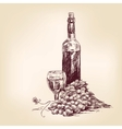 grapes with a bottle of wine and glass vector image vector image