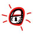 hand drawn lock symbol cartoon sticker black vector image