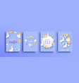 happy easter spring paper cut rabbit egg card set vector image vector image