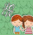 love little couple happy holding hands heart arrow vector image