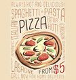 menu design for pizzeria restaurant vector image