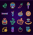 mexican holiday neon icons vector image
