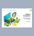 mobile payments landing page isometric online vector image
