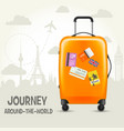 modern suitcase with travel tags - sightsseeing vector image vector image